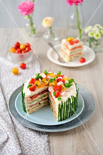 Salmon and cucumber sandwich cake