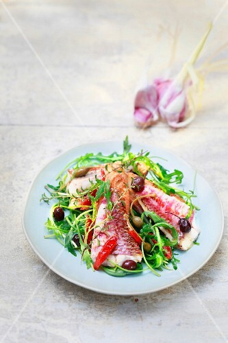 Warm red mullet,caper,olive and garlic salad