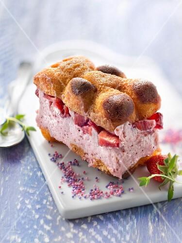 Small strawberry and marshmallow chocolate bear tiramisu