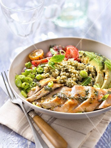 Chicken with bulghour,cherry tomato and avocado salad with mint pesto