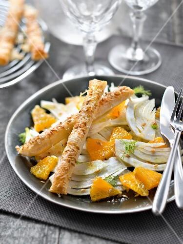 Fennel and orange salad ,parmesan-sesame seed bread fingers