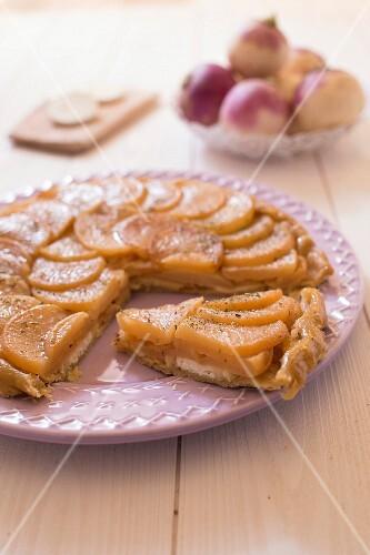 Turnip,goat's cheese and honey tatin tart
