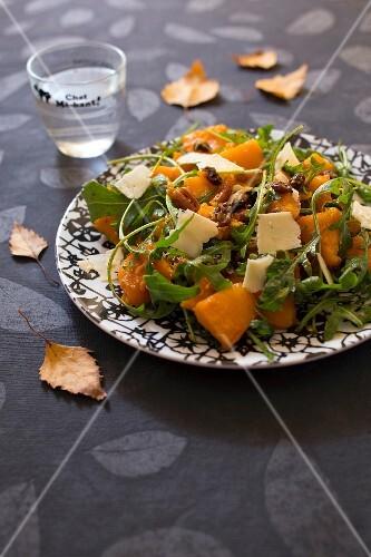 Pumpkin roasted in maple syrup ,walnut and raisin salad