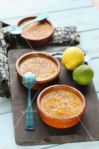 Lemon Catalan baked egg custards