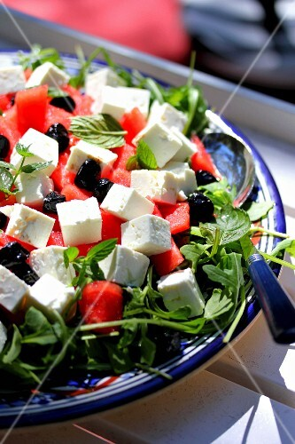 Rocket,watermelon,olive and feta salad