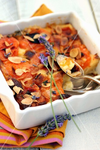 Apricot,lavander and almond clafoutis