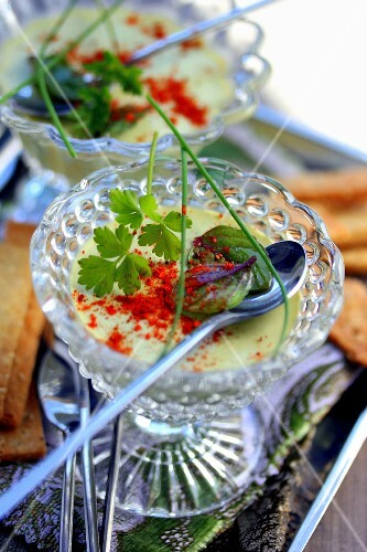 Fresh herb cream with paprika