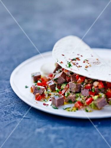 Beef's toungue tacos, Mexican salsa