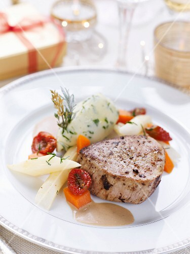 Veal Grenadin,mashed potatoes with herbs, sun-dried tomatoes,sasifies and pumpkin