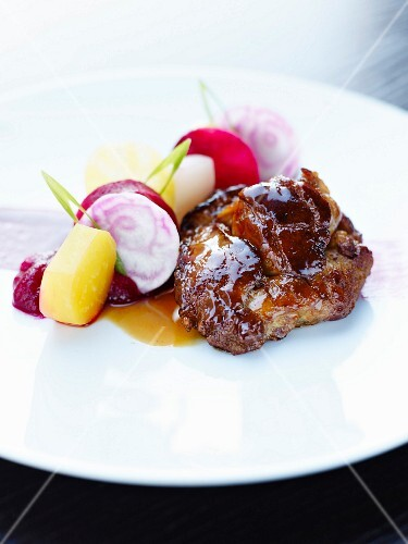 Sweetbreads cooked on one side with beetroots