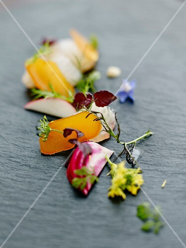 Tasting Palette with poutargue,crisp vegetables and wild flowers