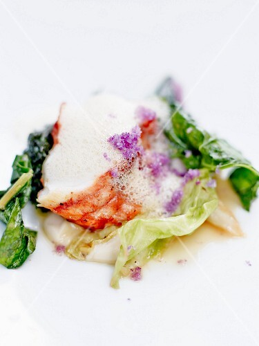 Steamed lobster with cabbage,foamy sauce and violet salt