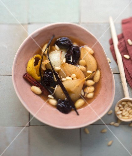 Spicy pear, almond, pine nut and prune sweet tajine
