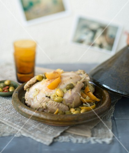Chicken, olive and confit citrus tajine