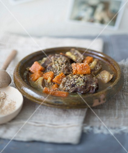 Mutton, pumpkin and honey tajine