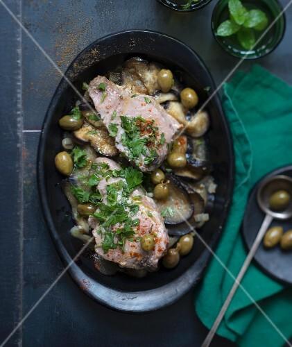 Tuna, eggplant and olive tajine