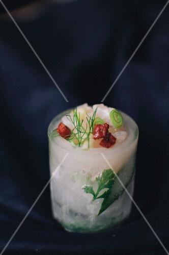 Bass,chorizo and fennel tartare ice shot snack