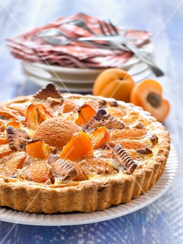 An apricot tart with butter biscuits