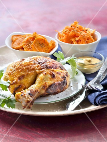 Chicken roasted with mustard, sweet potatoes and grated carrots