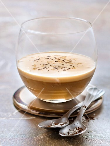 Coffee panna cotta with salted butter toffee sauce