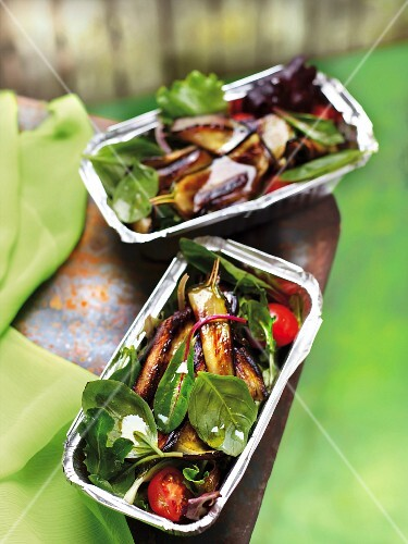 Grilled vegetable, tomato and baby spinach salad