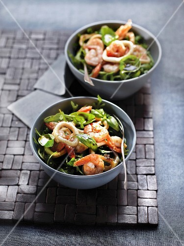 Shrimp, squid and basil salad with balsamic vinaigar