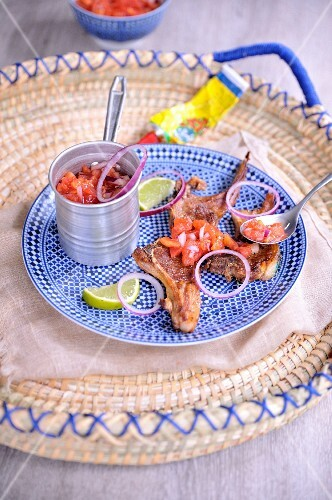 Tunisian chops, lime and harissa sauce