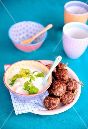 Lamb, rice and coriander meatballs, yoghurt sauce