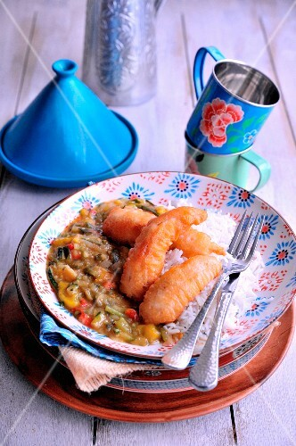 Stewed vegetable tajine, rice and chicken fritters