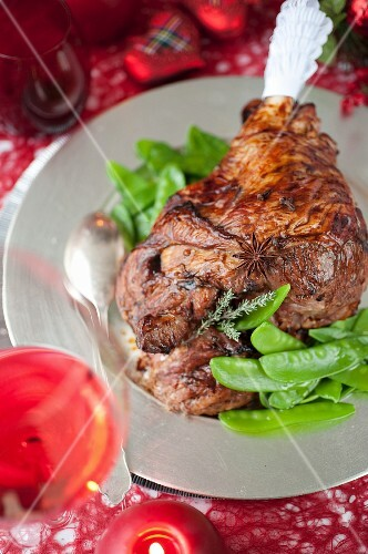 Scottish spicy roasted leg of lamb with sugar peas