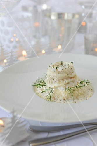 Sole fillet with celeriac,Japanese pearls with dill cream