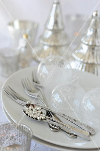 White,transparent and silver Christmas decorations