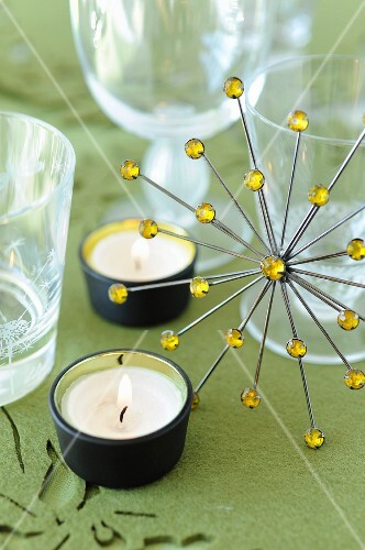 Candles and rhinestone decoration
