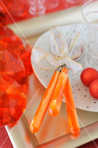 Orange tableware and dercorations