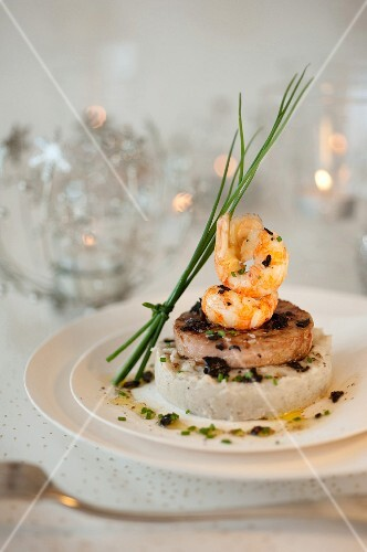 Veal Grenadin with langoustine tails,artichoke base puree with truffles