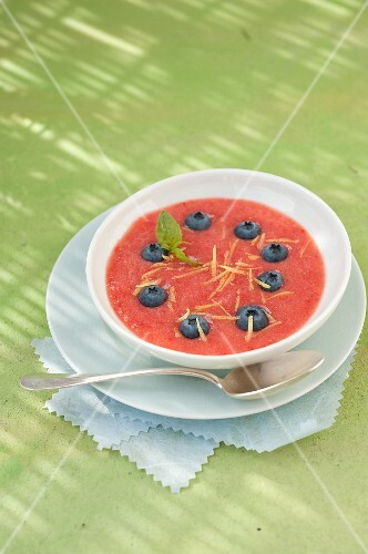 Strawberry gaspacho with blueberries