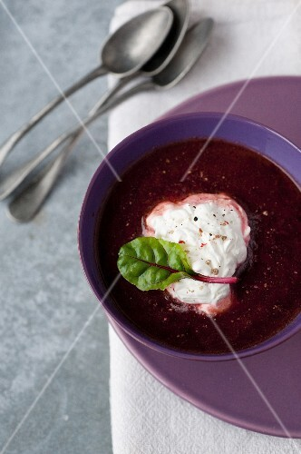 Cold beetroot soup with horseradish whipped cream