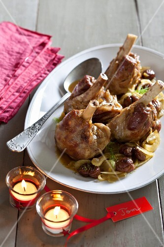 Confit knuckle of lamb with chestnuts,fennel and celery