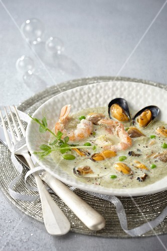 Langoustine and mussel green chowder by Georges Blanc