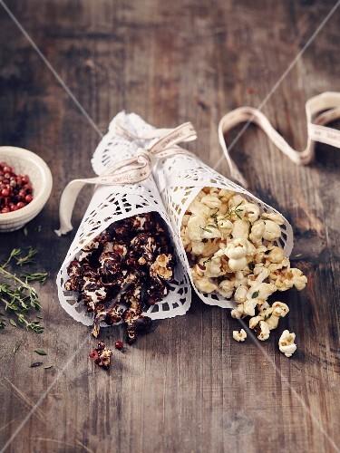 Honey-thyme popcorn and chocolate popcorn