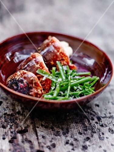 Breton lobster with green bean salad