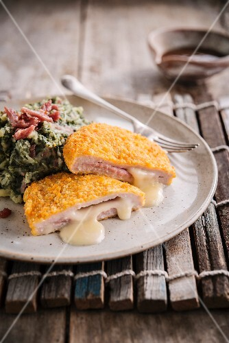 Chicken Cordon-bleu,mashed potatoes and Swiss chard with turkey