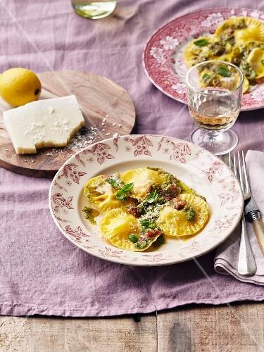 Parmesan and pesto raviolos
