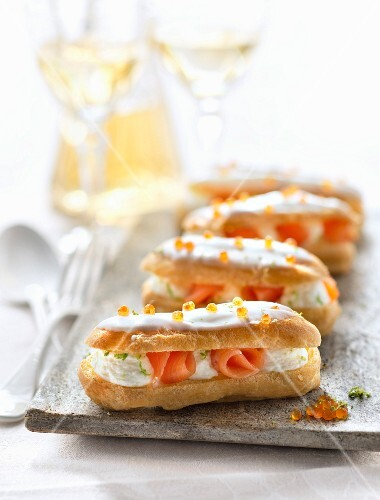 Smoked salmon and lime whipped cream Eclairs