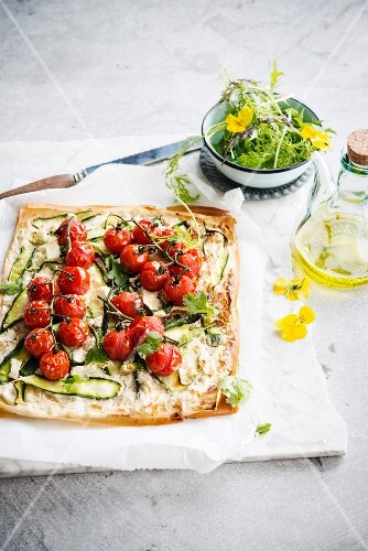 Thin tomato and courgette filo pastry tart