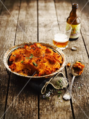 Sweet potato mash,ground beef and beer Parmentier