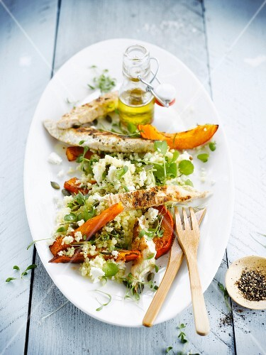 Millet,grilled turkey and squash salad