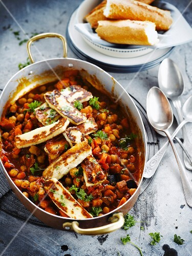 Vegetarian chickpea stew with halloumi cheese