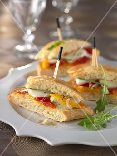 Mozzarella,red and yellow pepper bruschettas