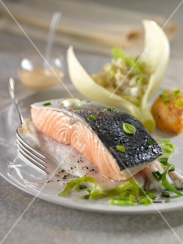 Sea bass duo and salmon,thinly sliced fennel and leeks